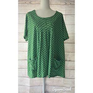 Vintage green w/polka dot womens plus size top 1X